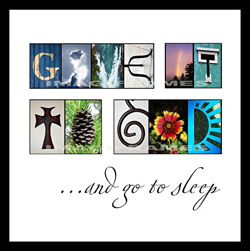 Give It To God and Go To Sleep - Alphabet Photo Framed Letter Art - Custom Alphabet Photography Sleep Framed