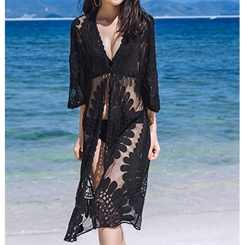 7b0648ffcd809 outlet Women s 3 4 Sleeves Tie front Floral Mesh Swimsuit Cover up Beach  Kimono US