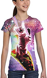 Msanlixian Girls T-Shirt Short Sleeve Rainbow Laser Eyes Taco Cat Riding Burrito Graphic Kids Crewneck Tops Te