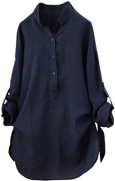 Mujeres Elegantes Camisa de Manga Larga Blusas de Verano y Camisas Casual Sólido Tallas Grandes Cuello en V Moda Suelta Blusa Soporte Blusa Camisa Superior riou: Amazon.es: Ropa y accesorios