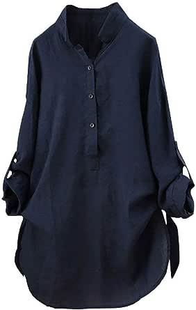 Mujeres Elegantes Camisa de Manga Larga Blusas de Verano y Camisas Casual Sólido Tallas Grandes Cuello en V Moda Suelta Blusa Soporte Blusa Camisa ...