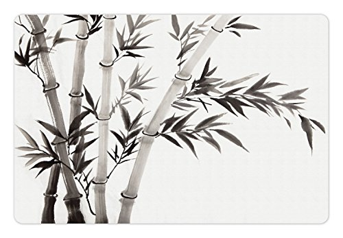 Ambesonne Bamboo Pet Mat for Food and Water, Traditional Bamboo Leaves Meaning Wisdom Growth Renewal Unleash Your Power Artprint, Rectangle Non-Slip Rubber Mat for Dogs and Cats, Grey White ()