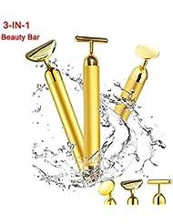 3-in-1 Beauty Bar 24k Golden Pulse Facial Massager,T-Shape...