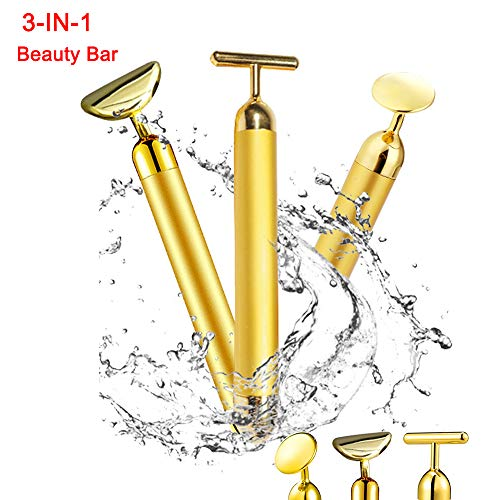 3-in-1 Beauty Bar 24k Golden Pulse Facial Massager,T-Shape, Lotus Leaf Shape and Natural Jade roller Head, Instant Face Lift, Anti-Wrinkles,Skin Tightening, Face Firming, Eliminate Dark Circles
