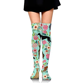 RGFJJE Calcetines Altos Greyhound Floral Cute Dog Mint Vintage Upgraded Knee High Graduated Compression Socks for