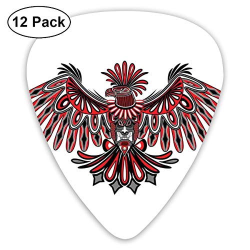Guitar Picks 12-Pack,Haida Art Eagle Motif Native American Tribal Pattern Totem - Native Art Haida