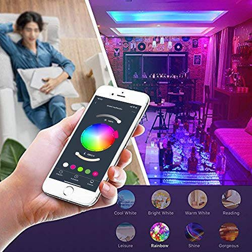Smart WiFi Light Bulb, LED RGB Color Changing, Compatible with Alexa and Google Home Assistant, No Hub Required, A19 E26 Multicolor LUMIMAN 2 Pack