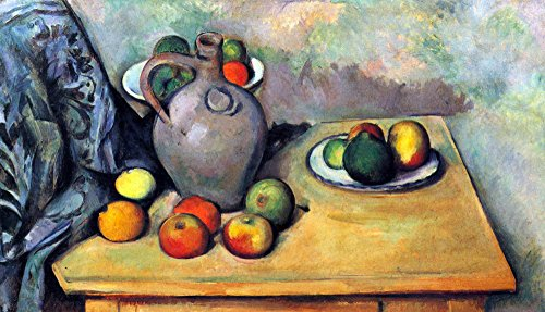 The Museum Outlet - Still life, pitcher and fruit on a table by Cezanne - Poster (24 x 18 Inch)