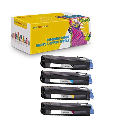 New York TonerTM New Compatible 4 Pack 43034801 43034802 43034803 43034804 High Yield Toner For OKI : C3100 | C3100n. --Black Cyan Magenta Yellow