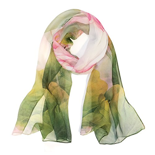 Wrapables Lightweight Sheer Silky Feeling Chiffon Scarf, Green Lotus Flower