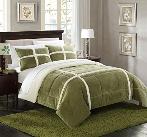 Chic Home 7 Piece Chloe Mink Sherpa Lined King Comforter Set Green Sheets Included