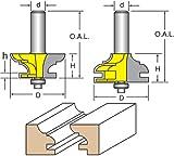 Woodtek 821047, Router Bits, Door Construction, Stile & Rail - Cabinet, Rail & Stile Set, Cove & Bead Detail, 1/2'' Shank