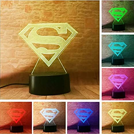 Amazon.com: KLSOO Avengers Superman Logo Symbol 3D Night Light 7 ...