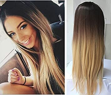 Ladies 34 Wig Fall Clip In Hair Piece Extensions Ombre Dip Dye