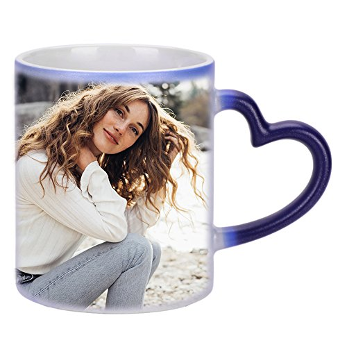 LONTG Personalized Coffee Mugs Custom Color Changing Photo Mugs Personalized DIY Add Photo Picture Text Print Hot Heat Sensitive Cup Ceramic Custom Mug Families Friends Birthday -