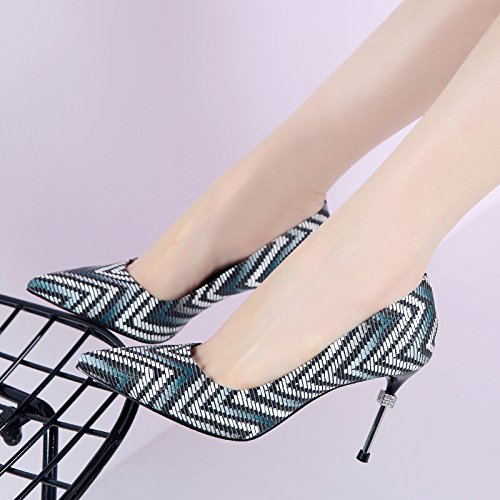 HGTYU-The Trendy Ethnic And Color Pattern Pointed Shoes Water Drilling Fine High Heeled Shoes With A Single During The Spring And Autumn New Black 8Sf8Y