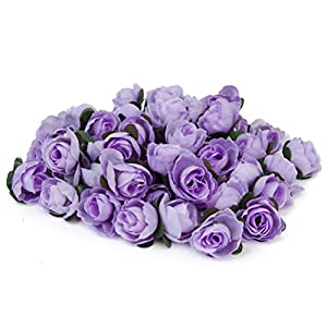 Tinksky 50pcs Artificial Roses Flower Heads Wedding Mother's Day Decoration 3cm (Light Purple) 90
