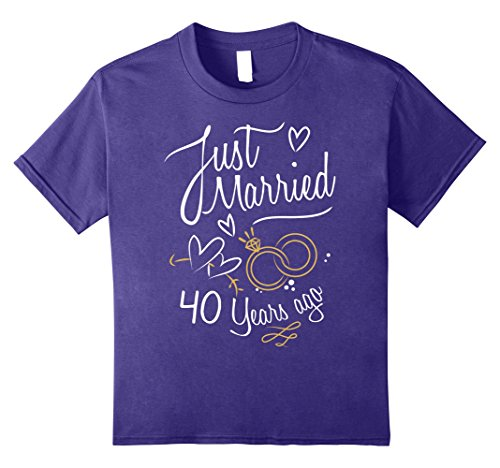 Kids Wedding Anniversary Gift Just Married 40 Years Ago T-Shirt 8 Purple