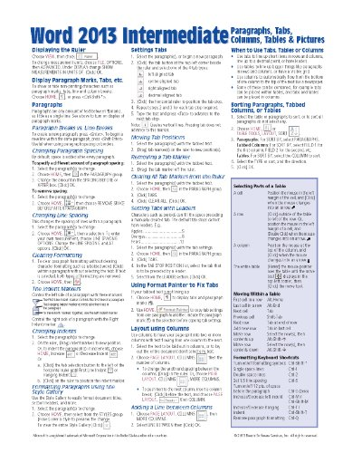 Microsoft Word 2013 Intermediate Quick Reference: Paragraphs, Tabs, Columns, Tables & Pictures (Cheat Sheet of Instructions, Tips & Shortcuts - Laminated Card)