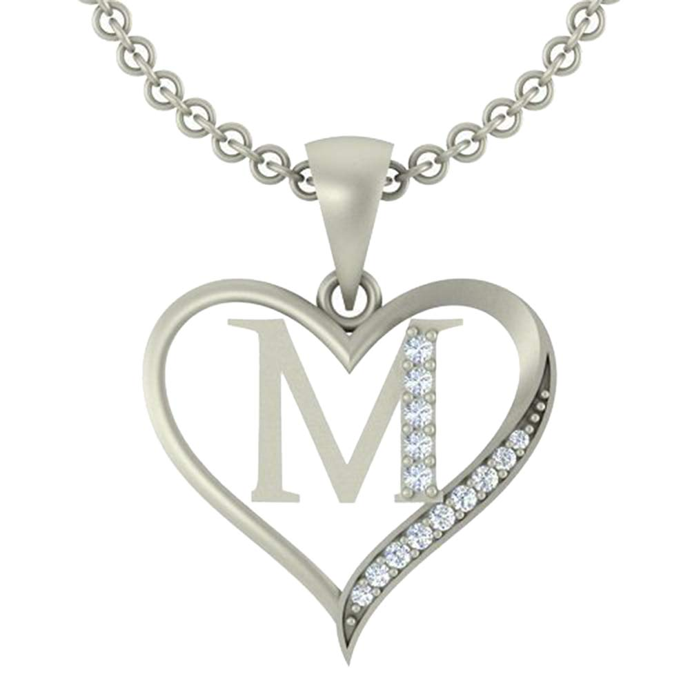 0.10 Ct Round Cut Simulated Diamond LetterM In Heart Pendant With 18 Chain 14K White Gold Plated