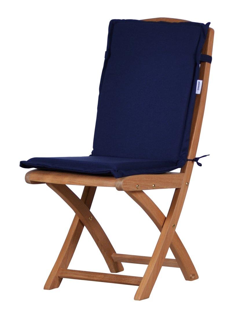 Amazon.de: 2 x Dunkelblaue Sitzauflage für Garten-Stühle ...