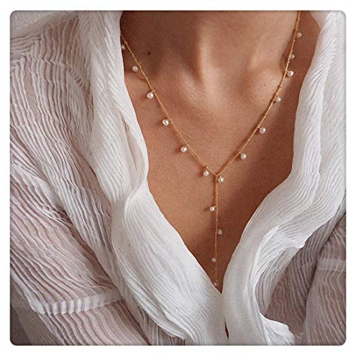 (SEAYII Women Y Necklace Gold Satellite Y Chain Drop Pendant Lariat Y Shaped Freshwater Mini Pearl Dangle 14K Gold Fill Dainty Simple Layering Delicate Handmade Gold Jewelry Gift)