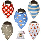 Baby Bandana Drool Bibs With Snaps For Boys and Girls (5 Pack + Bag) - Super Absorbent, Soft and Modern 100% Cotton - Best Baby Shower Gift From Tiny Captain (Orange)