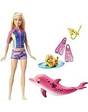 Barbie - Aventura de los Delfines, muñeca con mascotas mágicas y accesorios (Mattel FBD63)