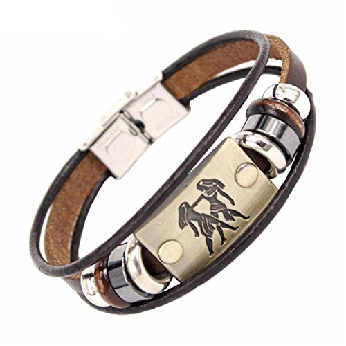 ccd81033f1 Dapengzhu Fashion 12 Constellations Zodiac Signs Beaded Charm Bracelet with  Stainless Steel Clasp Leather Bracelet for