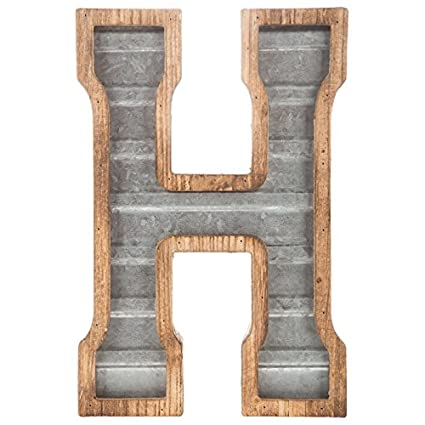 419dabc47a65 Image Unavailable. Image not available for. Color  XXL 14 quot  Galvanized  Metal and Wood Industrial Home and Business Wall Letters Monogram Letter H
