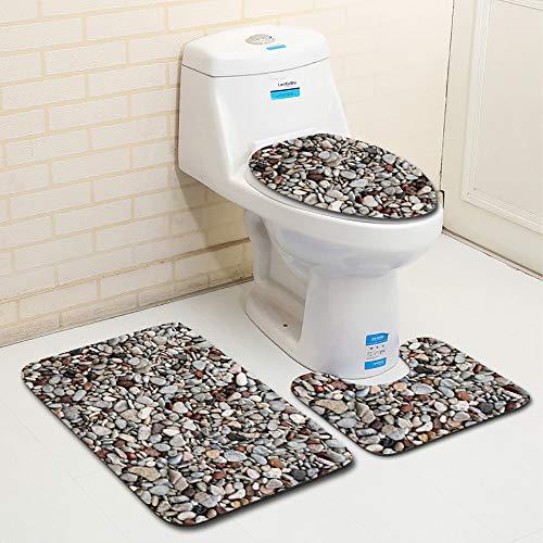 Clearance Sale!DEESEE(TM)3pcs Stone Non-Slip Fish Scale Bath Mat Bathroom Kitchen Carpet Doormats Decor (H)