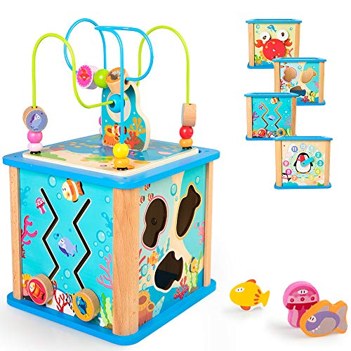 (rolimate Preschool Learning Cube Toy, Baby Educational Wooden Toy Box for Age 18 Months Girls and Boys )
