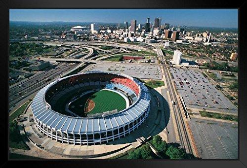 Atlanta Stadium Fulton (Atlanta Fulton County Stadium Skyline Aerial Photo Art Print Framed Poster 20x14 inch)