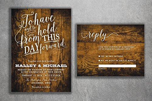 Country Wedding Invitations Set Printed - Rustic Wedding Invitations, Burlap, Kraft, Wood, Affordable, Vintage, Outside, Cheap, ()