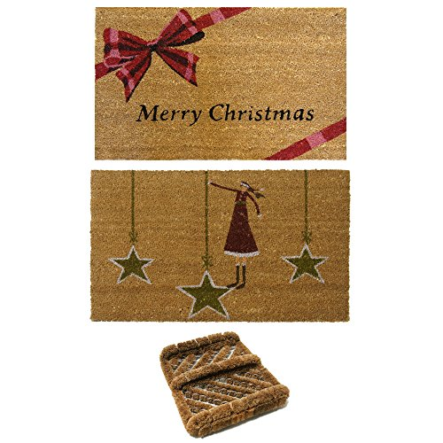 Rubber-Cal 2 Christmas Coir Door Mats & 1 Boot Scraper (Door Coir Christmas Mat)