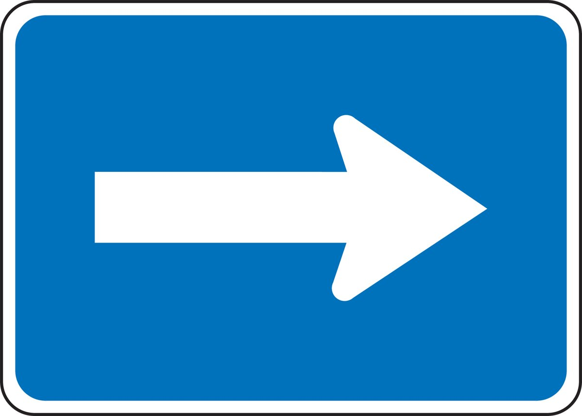 15 Length x 21 Width x 0.080 Thickness HORIZONTAL ARROW Accuform FRG123RA Engineer-Grade Reflective Aluminum General Service Auxiliary Sign MUTCD M6-1 Legend White on Blue