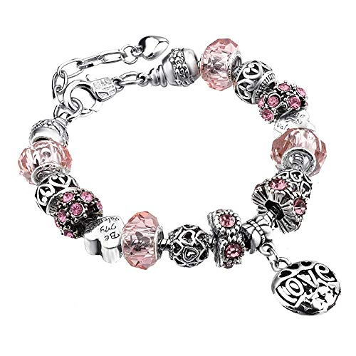(FAVOT 2019 New DIY Alloy Large Hole Beads Austria Crystal Bracelet Alloy Beads Heart Shaped Hand Chain Women Wedding Jewellery Multi-color Optional (Pink))