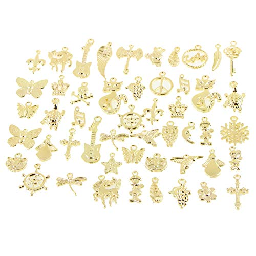 50pcs Charms for Jewelry Making,Dainty Tibetan Gold Charms Pendants Crafting Accessories for Necklace Bracelet Ankle Jewelry DIY Making