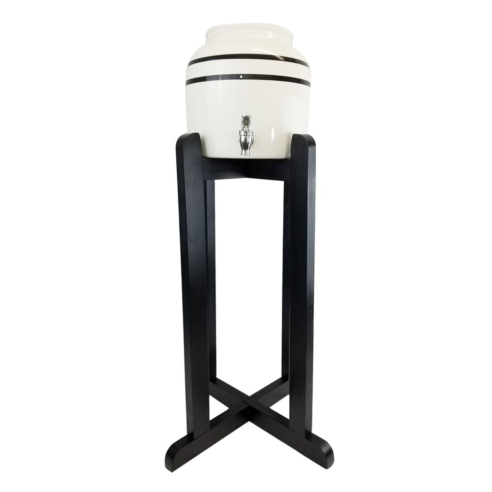 "Lead-Free Porcelain Water Dispenser with Black Stripes and 27"" Black Wood Floor Stand"