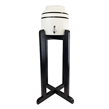 Porcelain Water Dispenser with Black Stripes and 27  Black Wood Floor Stand