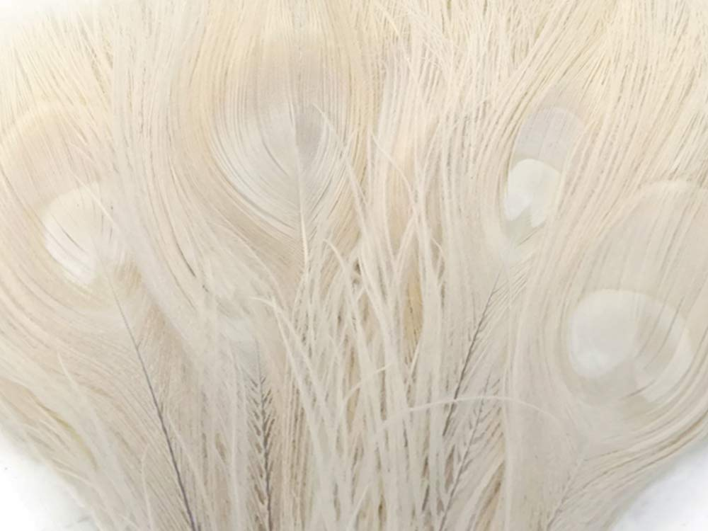 "5 Pieces - 10-12"" Ivory Bleached and Dyed Tails Peacock Feathers Craft Fly Tying Wedding Supply 