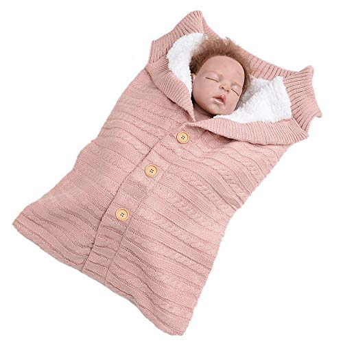 Newborn Infant Baby Swaddle Blanket Sleeping Bag, Winter Warm Knit Crochet Plus Velvet Button Sleep Sack Stroller Wrap (Pink, 0~12 Months) ()