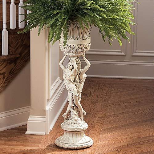 Design Toscano KY9055 Les Filles Joyeuses Pedestal Column Plant Stand with Urn, Antique Stone
