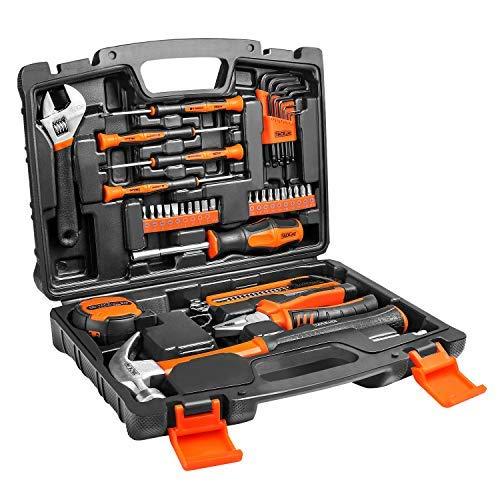 Household Tool Kit,TACKLIFE Classic 42PCS Home Repair Hand Tool Set with Tool Box Storage -