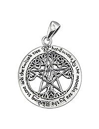 Sterling Silver Cut Out Tree Pentacle Pentagram Pendant; 1 Inch Diameter
