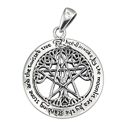 - Sterling Silver Cut Out Tree Pentacle Pentagram Pendant; 1 Inch Diameter
