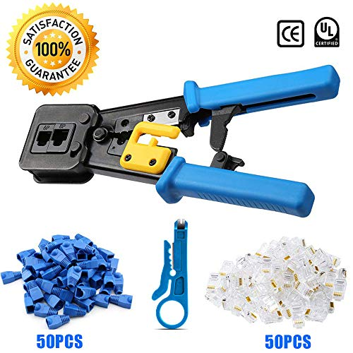 EZ RJ45 Crimp Tool Kit Cat5 Cat5e Cat6 Pass Through Crimping, Ethernet Crimper Network Tool for Passthrough and Legacy Connector with Many Practical Connectors and Covers