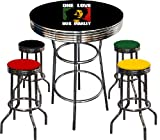 Bob Marley Themed 5 Piece Chrome Metal Finish Bar Table Set with 4 Swivel Seat Rasta Colors Vinyl Bar Stools