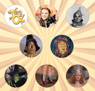 The Wizard of Oz Set of 8 - 1 Inch Pinback Buttons -