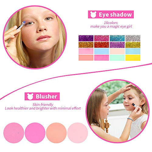 Tomons Kids Washable Makeup Kit, Fold Out Makeup Palette with Mirror, Make Up Toy Cosmetic Kit Gifts for Girls - Safety Tested- Non Toxic